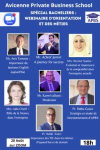 Spécial Bacheliers : Webinaire d'Orientation et des métiers APBS Tunisie Groupe scolaire Descartes Spécial Bacheliers : Webinaire d'Orientation et des métiers